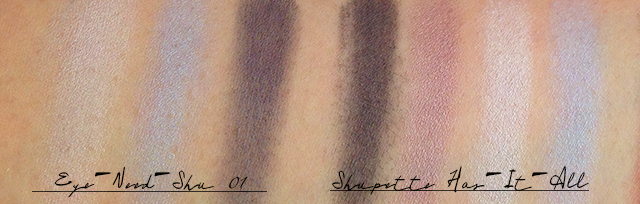 Shu Uemura Shupette Eye-Need-Shu vs Has-It-All comparison swatches