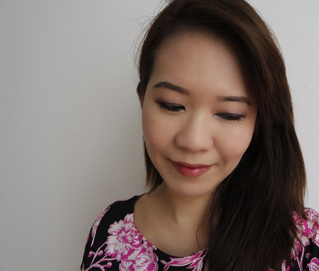 On eyes: The Body Shop Dolly Pastels Palette lined with Glitter Liquid Eyeliner. On cheeks and lips: The Body Shop Lip & Cheek Dolly