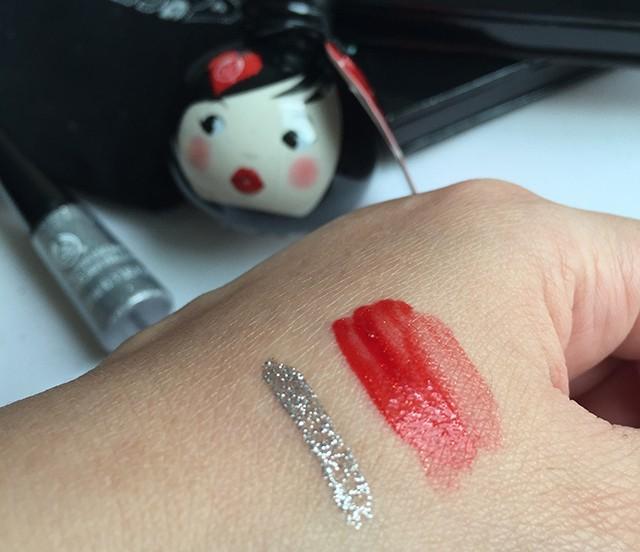 The Body Shop Lip & Cheek Doll Glitter Liquid Eyeliner swatches