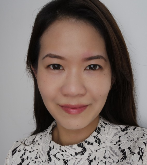 After applying Cle de Peau Correcting Cream Veil, complexion is visibly brighter and skin tone is evened out.  The redness over my left brow is still visible though.