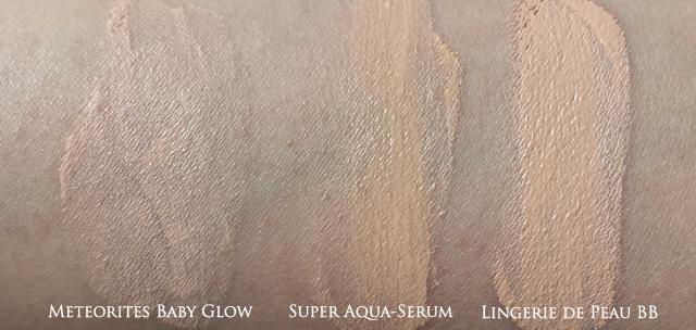 Guerlain Meteorites Baby Glow, Super Aqua-Serum BB, Lingerie de Peau BB swatch comparisons