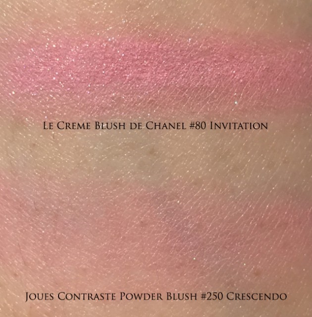 Chanel Invitation Crescendo blush swatches
