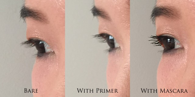 Before and After effects of Anna Sui Mascara Primer, and Volume & Separation Mascara