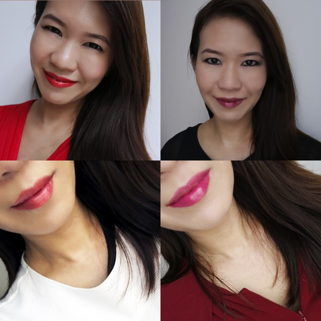 Various LOTDs featuring Shu Uemura Laque Supreme.  Clockwise from top left: RD04, WN01, WN02, CR01