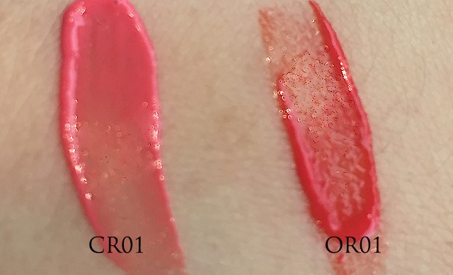 Shu Uemura Laque Supreme swatches of CR01, OR01