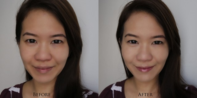The Face Shop Cushion Screen Cell - Natural, before after comparison
