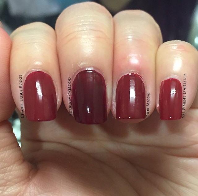 Burberry Oxblood Nail Polish swatch comparisons