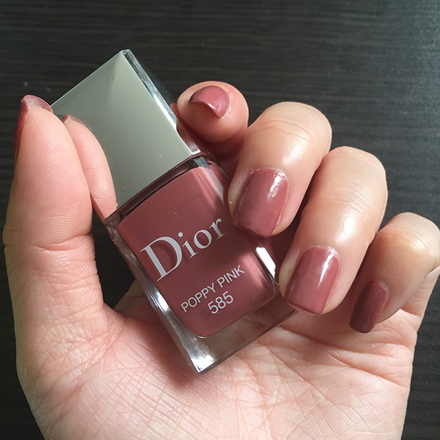 Dior Vernis 585 Poppy Pink nail swatch