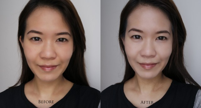 La Mer The Reparative Skintint before after comparison