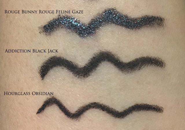 Swatches of Rouge Bunny Rouge, Addiction and Hourglass mechanical pencil eyeliners
