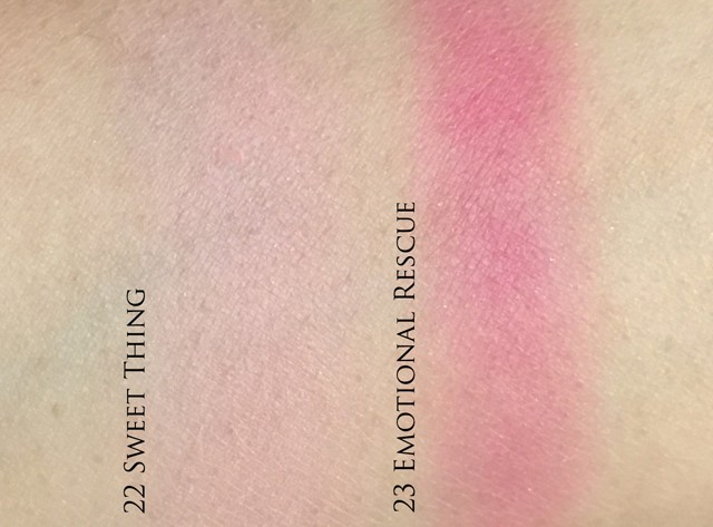 THREE Color Veil for Cheeks #22 Sweet Thing and #23 Emotional Rescue swatches