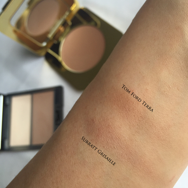 Comparison swatch between Tom Ford Terra and Surratt Grisaille