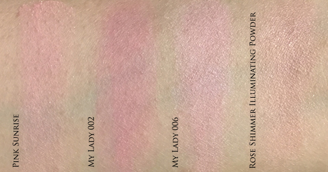 Diorskin Nude Tan Pink Sunrise comparison swatches