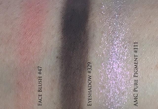 Swatches of Inglot eyeshadow 329, blush 47, AMC pure pigment 111