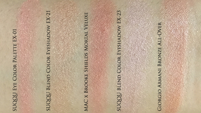 Suqqu Eye Color Palette EX01 Peach comparison swatches