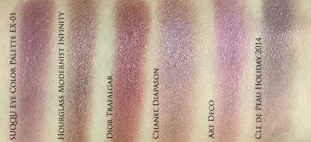 Suqqu Eye Color Palette EX01 plum comparison swatches