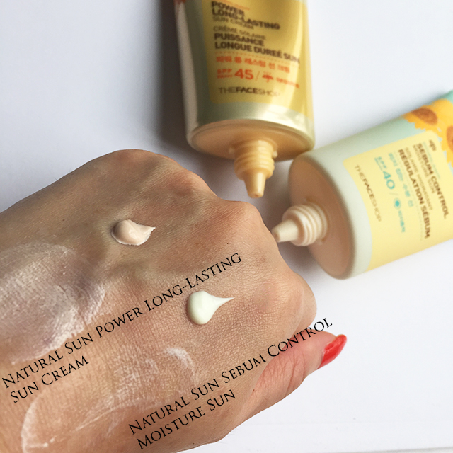Natural Sun Eco Power Long-Lasting Sun Cream and Natural Sun Eco Sebum Control Moisture Sun  swatches