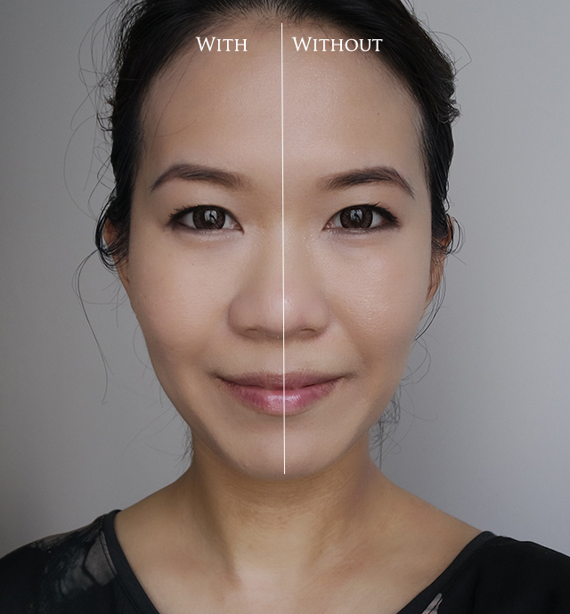 Cle de Peau Beaute Radiant Powder Foundation before after comparison
