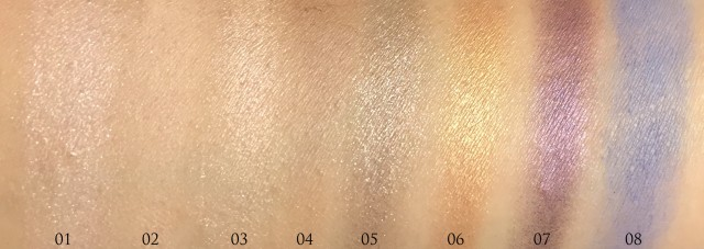 YSL Couture Mono Eyeshadow 1-8 swatches