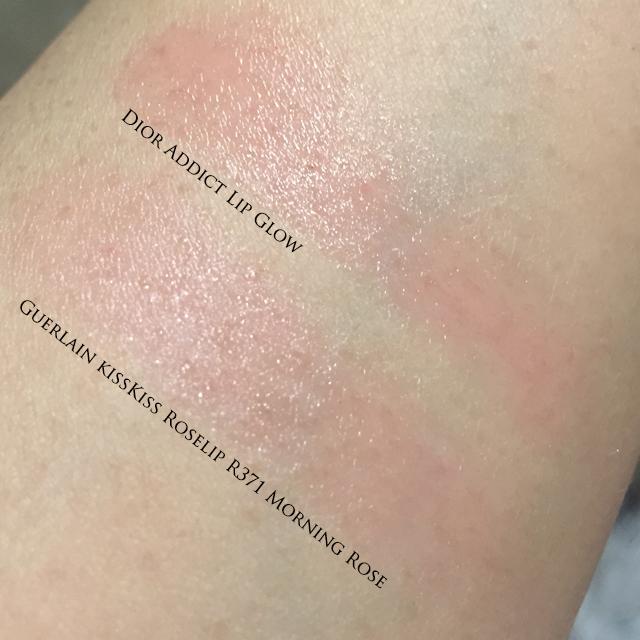 Guerlain KissKiss Roselip vs Dior Addict Lip Glow swatch
