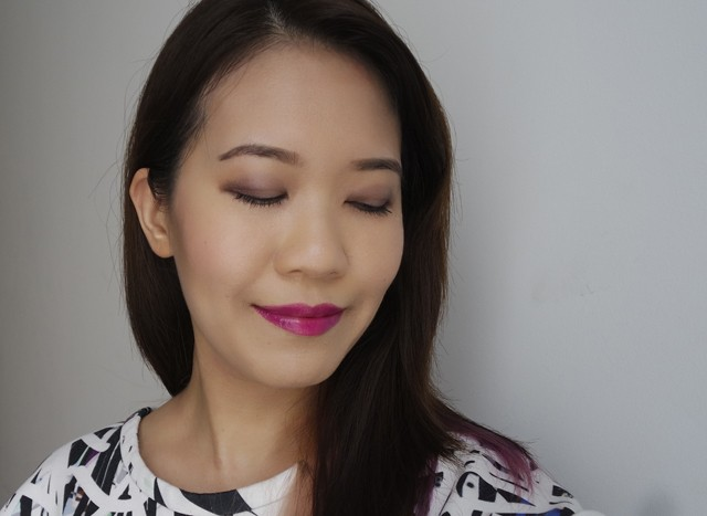 Makeup look featuring Estee Lauder Pure Color Envy Eye Defining Singles Fiery Topaz and Vain Violet on the eyes