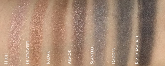 Urban Decay Naked Smoky Palette swatches 1
