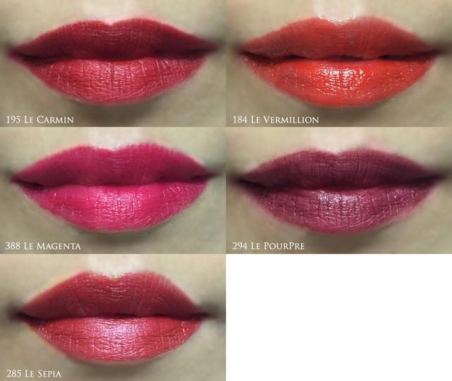 Lancôme L'Absolu Rouge Définition lip swatches