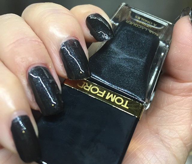 Tom Ford Black Out Nail Lacquer nail swatch - indoor lighting