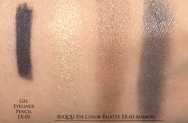 SUQQU Eye Color Palette EX-03 & Gel Eyeliner Pencil Ex-02 swatches