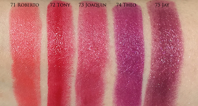 Tom Ford Lips and Boys 71-75 swatches