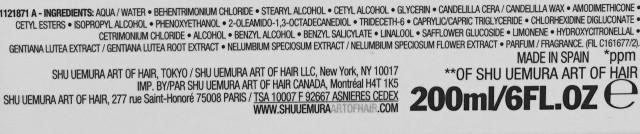 Shu Uemura Art of Hair Ultimate Remedy Extreme Restoration treatment ingredients