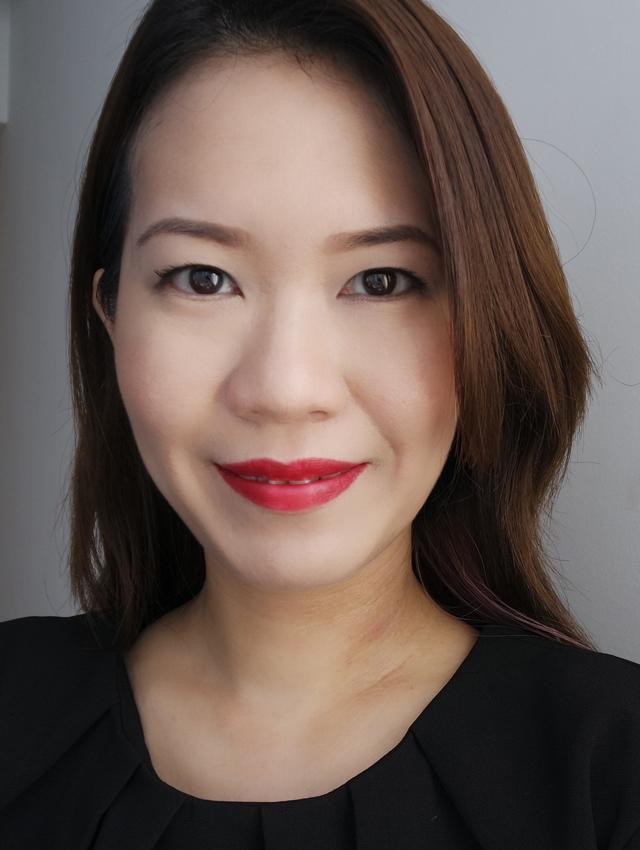 Makeup look featuring Tatcha Kyoto Red Silk Lipstick