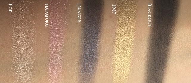 UD x Gwen Stefani Eyeshadow Palette bottom row swatches copy
