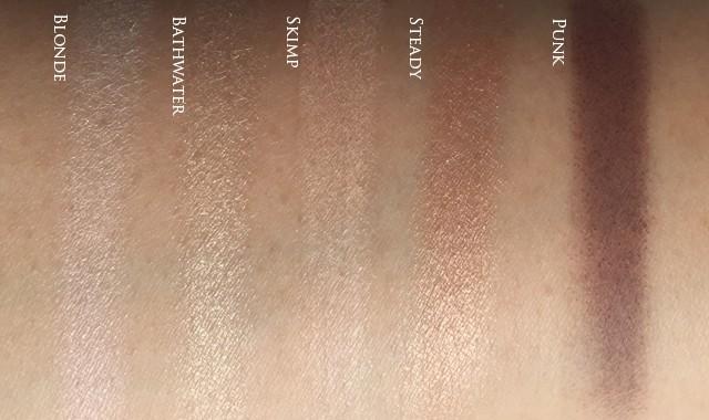UD x Gwen Stefani Eyeshadow Palette top row swatches