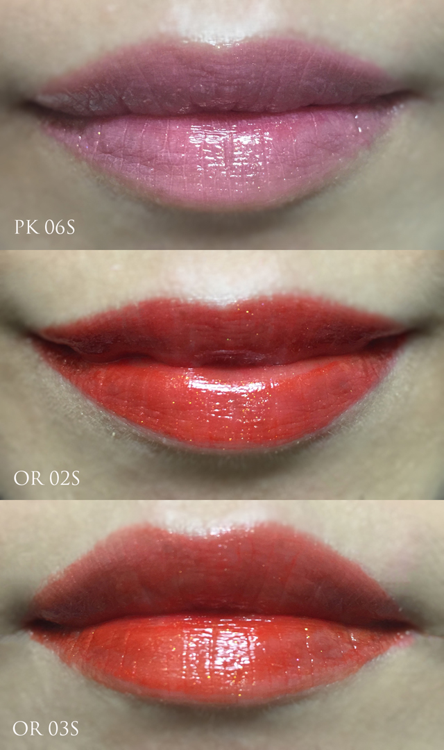 Shu Uemura Laque Supreme Shimmer lip swatches