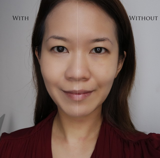 YSL Le Cushion Encre de Peau before and after comparison