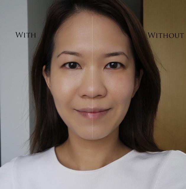 shu uemura blanc:chroma Brightening UV cushion foundation before after comparison