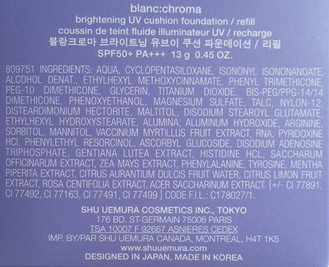 shu uemura blanc:chroma Brightening UV cushion foundation ingredients