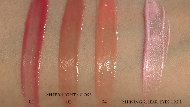 Lunasol Sheer Light Gloss & Shining Clear Eyes swatches