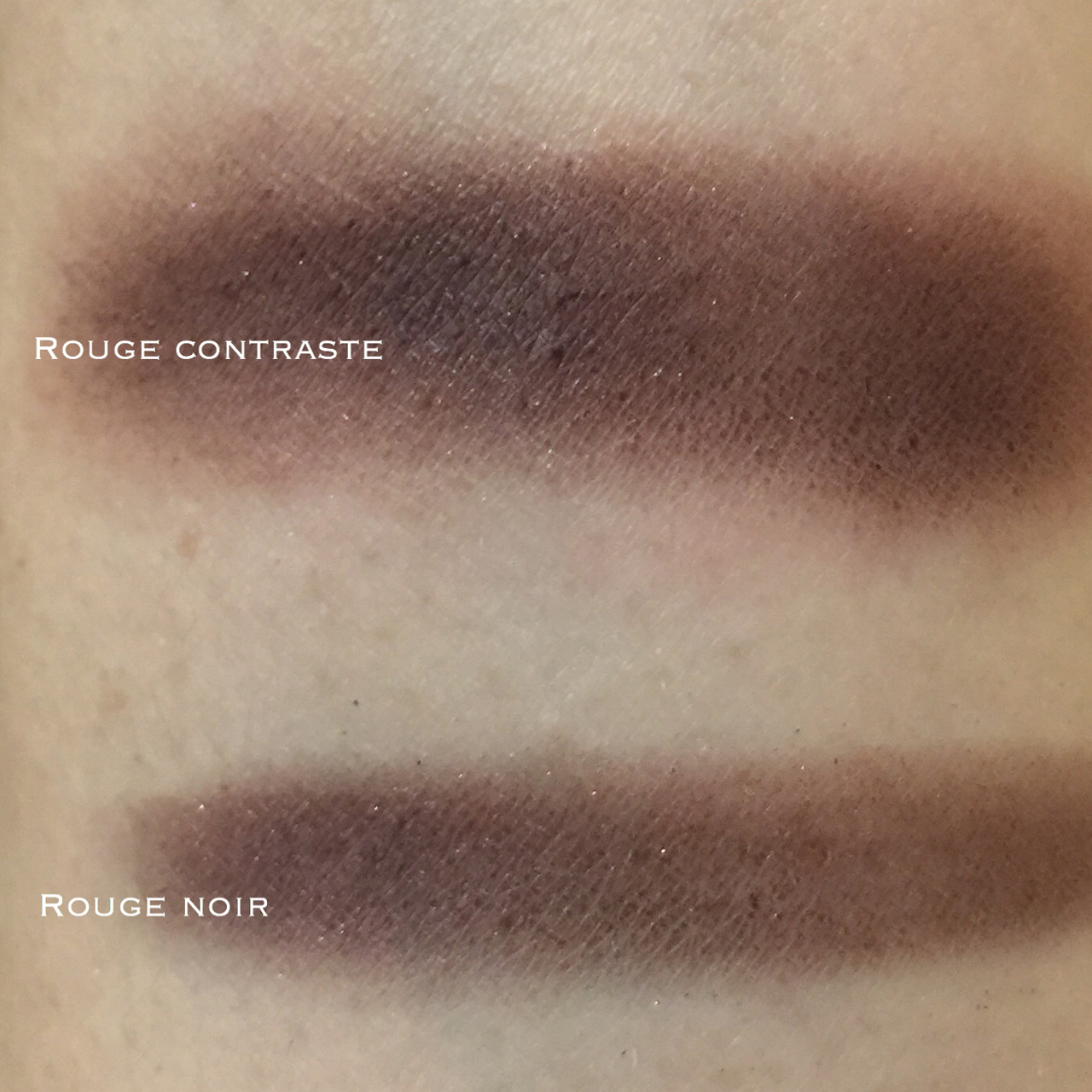 Chanel Illusion d'ombre 132 Rouge Contraste for Fall 2016 swatch comparison with Rouge Noir