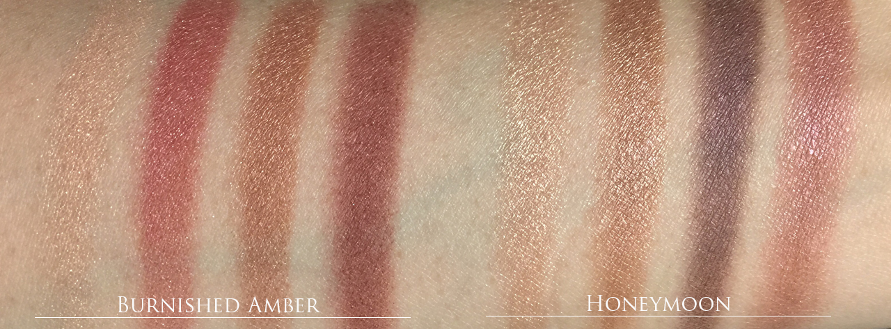 Tom Ford Honeymoon vs Burnished Amber comparison swatches