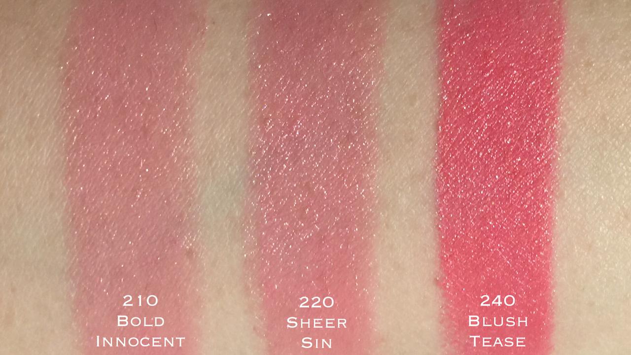 Estee Lauder Pure Color Envy Hi-Lustre Lipstick 210-240 swatches