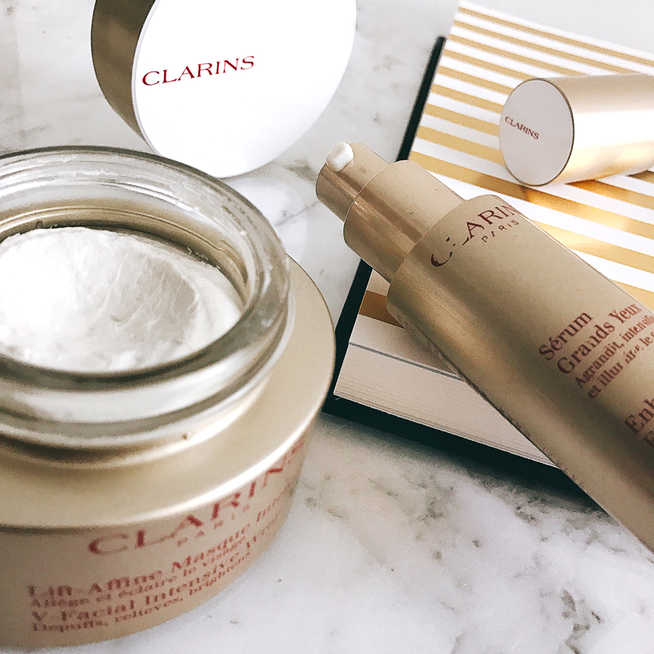 clarins facial shaping lift mask & enhancing eye lift serum