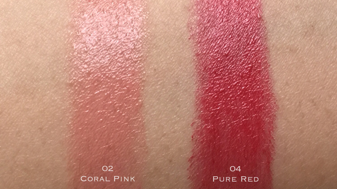 Kanebo Moisture Rouge Coral Pink & Pure Red swatches