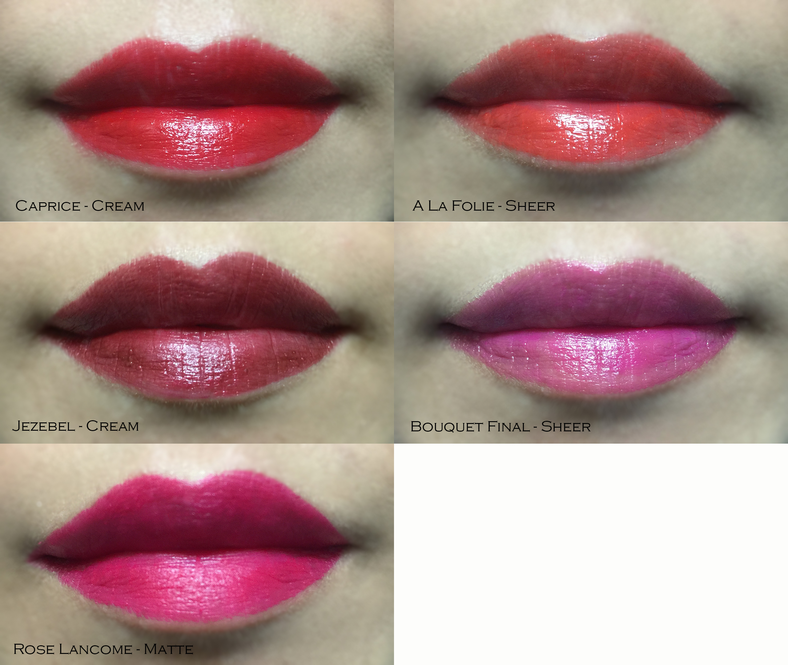 Lancome L'Absolu Rouge Lip Swatches