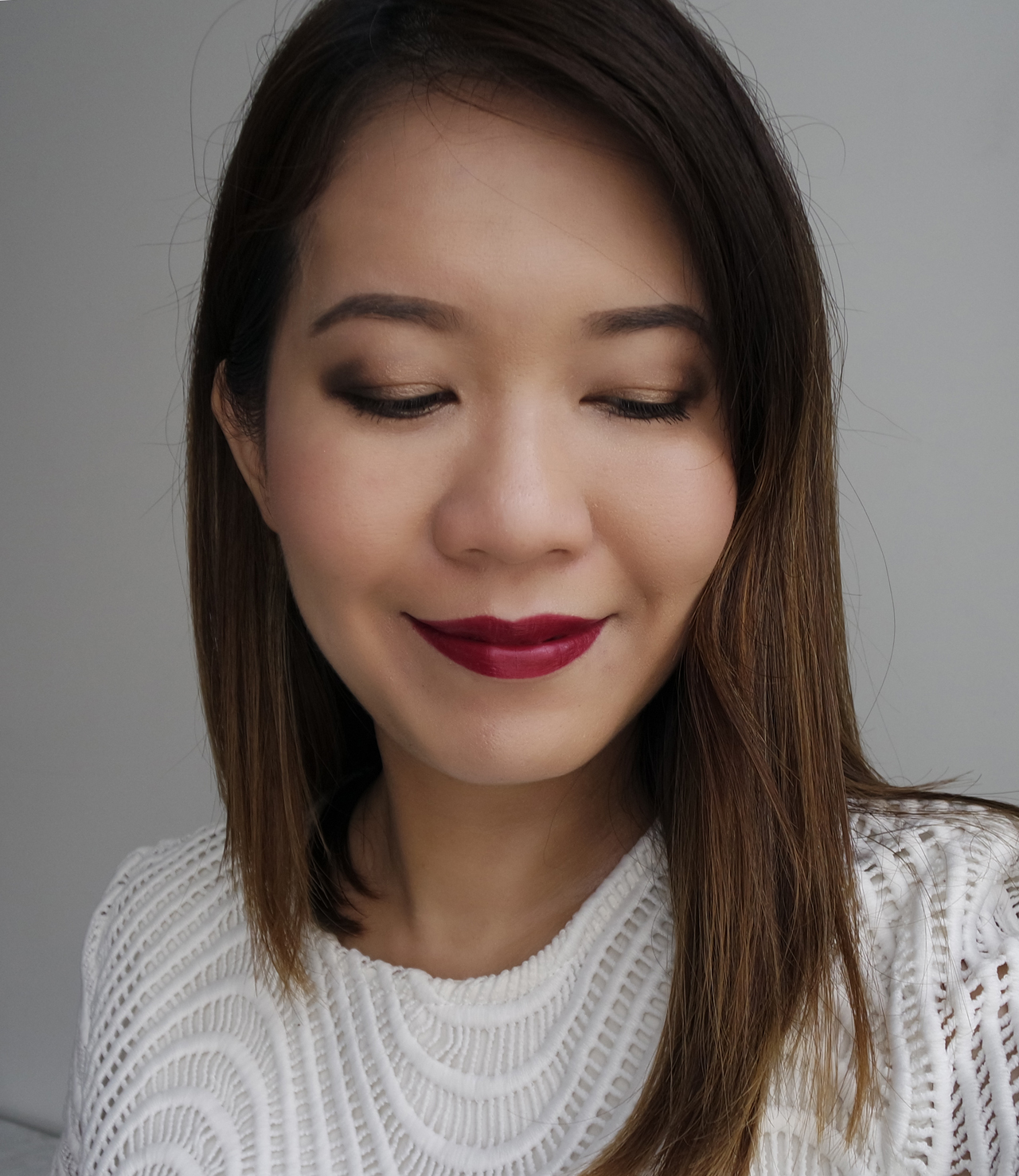 Bobbi Brown Sultry Nude Eye & Cheek Palette and Red Berry Luxe Lip Color makeup look
