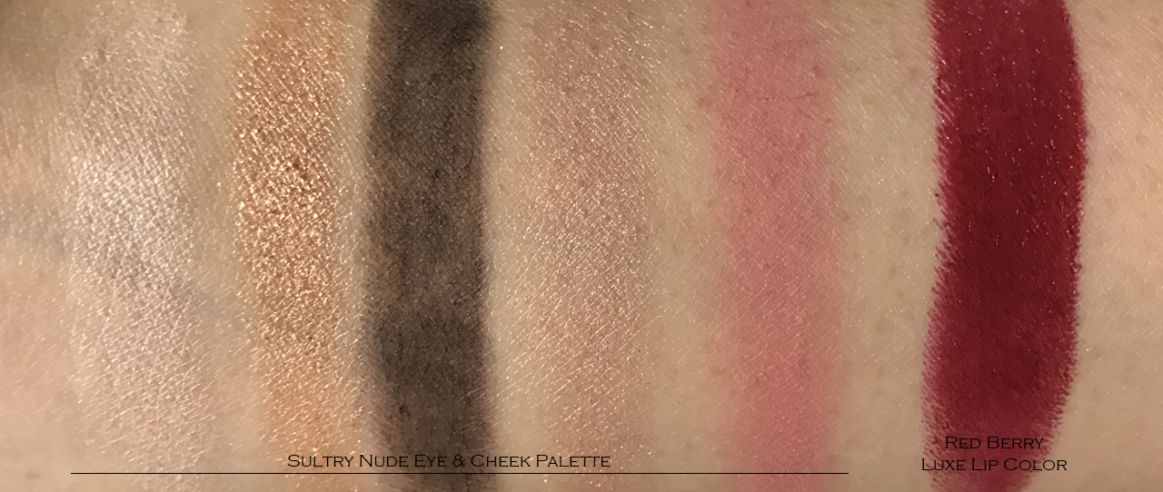 Sultry Nude Eye & Cheek Palette & Red Berry Luxe Lip Color swatches