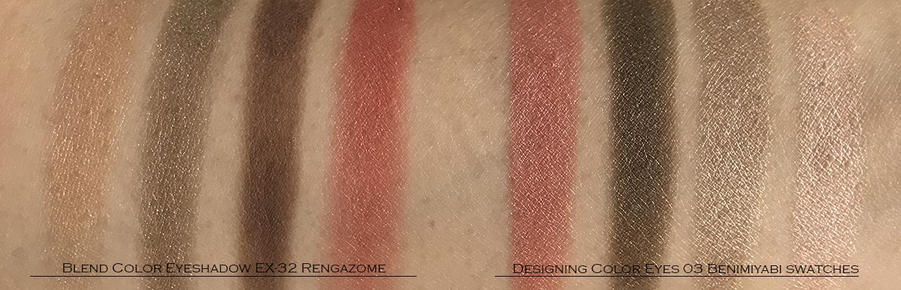 SUQQU Designing Color Eyes 03 vs Blend Color Eyeshadow EX32 swatch comparison