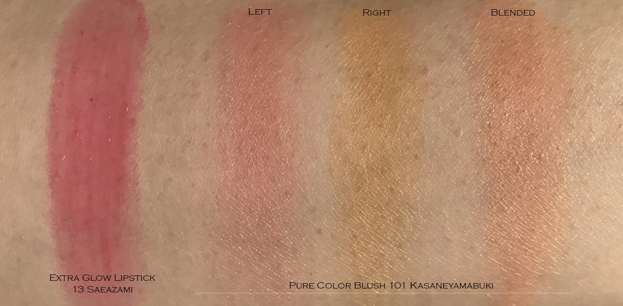 SUQQU Pure Color Blush 101 Kasaneyamabuki & Extra Glow Lipstick 13 Saeazami swatches