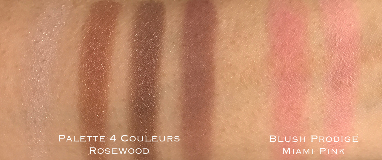 Clarins Palette 4 Couleurs Rosewood & Blush Prodige Miami Pink swatches